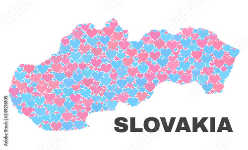 Canvas Print Mosaic Slovakia map of love hearts in pink and blue colors isolated on a white background
