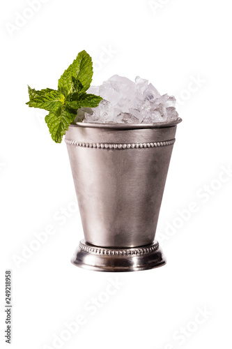 Stampa su Tela Refreshing Bourbon Mint Julep Cocktail on White