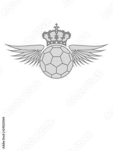Krone Flugel Wappen Handball Sport Rund Kreis Verein Spass
