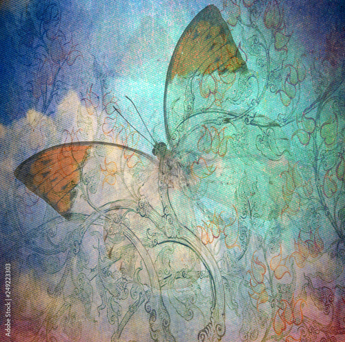 Cadres-photo bureau Papillons dans Grunge grunge butterfly background texturewith hand