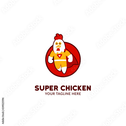 Photo  Super hero chicken logo mascot character flying in cartoon cute fun playfull sty