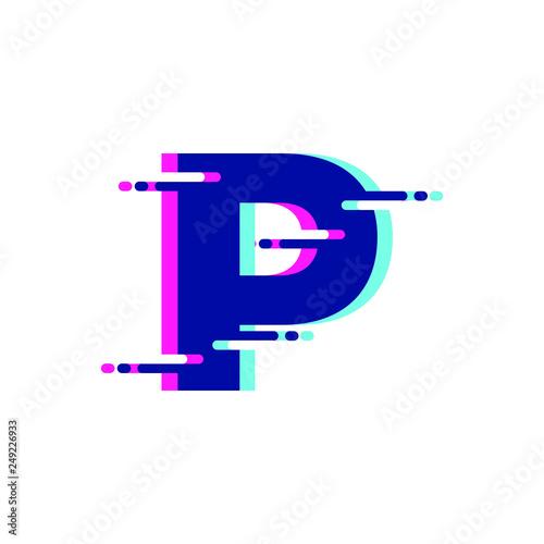 Fotografie, Obraz  Glitch Letter P Modern Font Logo Icon Symbol
