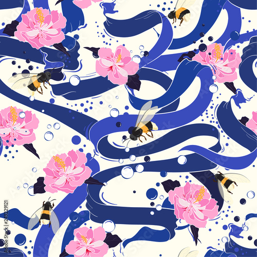 Fototapety, obrazy: Bright blue ribbon flowing with blooming hibiscus flower and bubbles delicate mood seamless pattern vector
