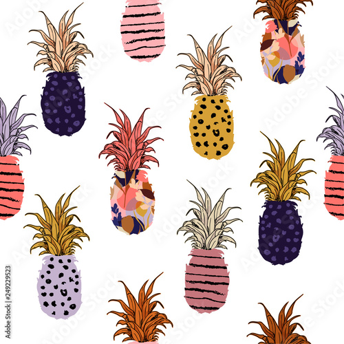 fototapeta na ścianę Beautiful and cute colorful hand drawn pineapple fill-on with hand sketch line pattern seamless ,vector design for fashion,fabric,wallpaper,and all prints