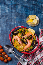 Traditional Paella With Seafood