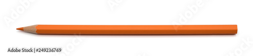 Fototapeta Orange pencil color isolated on white background with clipping path