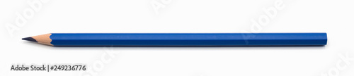 blue pencil single isolated on white background with clipping path Fototapeta