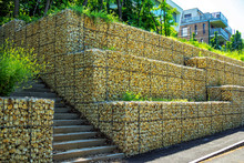 Gabion Retaining Wall – Metal Cages With Rocks - Protective Construction, Made Of Stones And Wire.