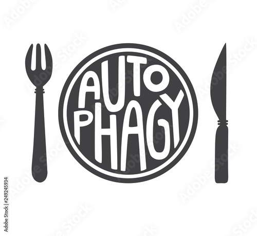 Autophagy  Flat vector illustration of a plate with a fork and a