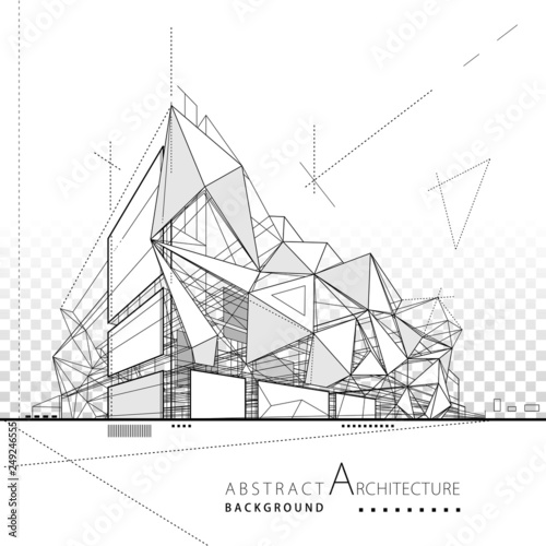 Fototapeta 3D illustration architecture modern building construction abstract background.  obraz