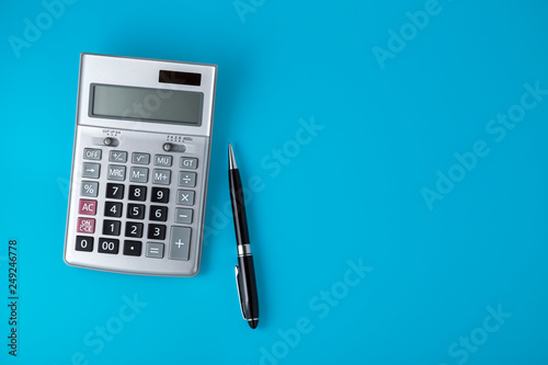 Sliver calculator on vivid blue background