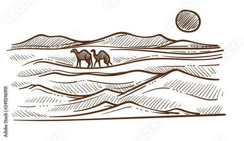 African desert with camels and barkhans or sand hills sketch Wallpaper Mural
