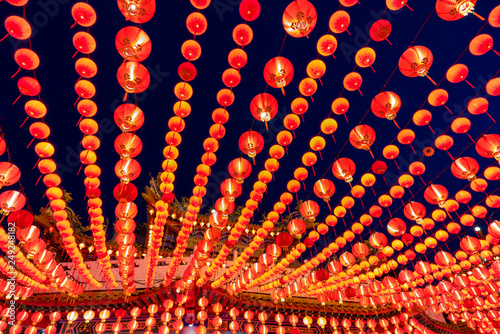 Cuadros en Lienzo  Red lanterns decorations in chinese temple name is Thean Hou Temple at Kuala Lumpur, Malaysia
