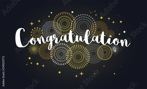 Congrats, Congratulations banner with glitter decoration Wallpaper Mural