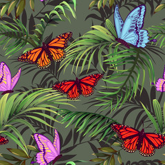 Butterflies and palm branches. Seamless pattern