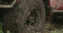 Turning Wheel Of A 4x4 Offroad Vehicle On The Mud Fs700 4k