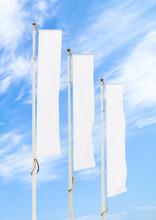 Three Blank White Flags On Fla...