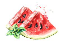 Two Pieces Of Ripe Red Watermelon And Mint Leaves. Fresh Summertime Concept. Watercolor Hand Drawn Illustration, Isolated On White Background