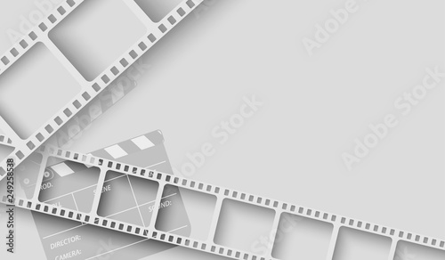 Fototapeta Abstract background with white film strip frame and clapper-board isolated on white background