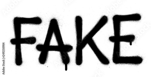 Fényképezés  graffiti fake word sprayed in black over white