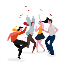 Dancing Party Group Illustration