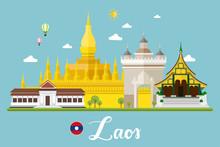 Laos Travel Landscape Vector Illustration