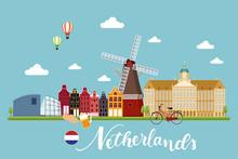 Netherland Travel Landscapes Vector Illustration