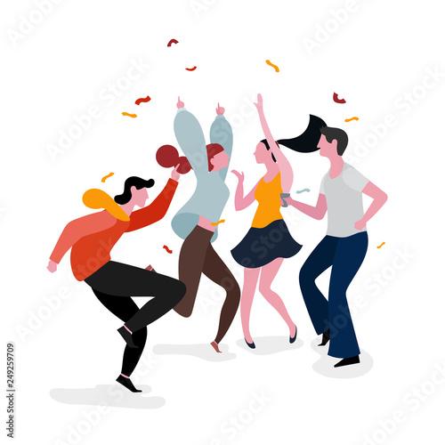 Obraz na plátně Dancing party group illustration