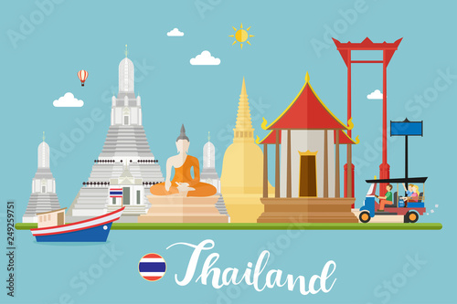 Staande foto Kasteel Thailand Travel Landscapes Vector Illustration