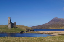 View Over Loch Assynt And Ardvreck Castle In The Scottish Highlands