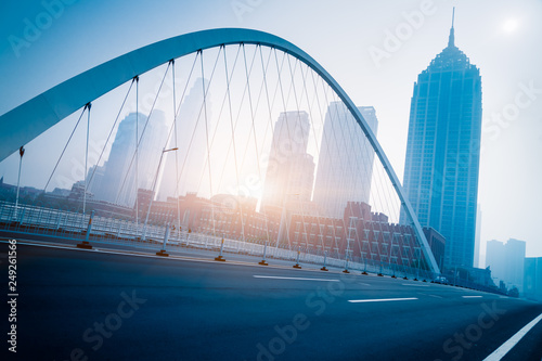Fotobehang Bruggen Dagu bridge with tianjin city skyline scenery,China.