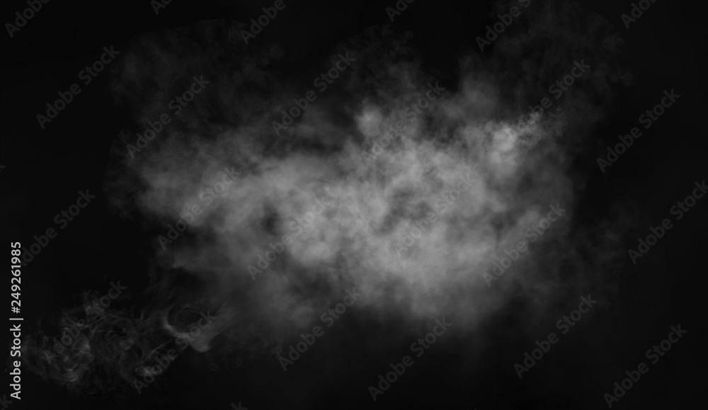 Fototapety, obrazy: Abstract smoke misty fog on isolated black background. Texture overlays. Design element.