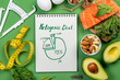 Leinwanddruck Bild - Keto diet concept - salmon, avocado, eggs, nuts and seeds, bright green background, top view