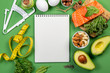 Leinwanddruck Bild Keto diet concept - salmon, avocado, eggs, nuts and seeds, bright green background, top view