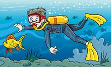 Scuba-diving. Vector