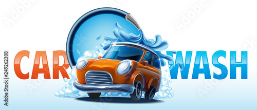 Foto op Canvas Cartoon cars car wash clean
