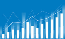 Illustration Of Business Increasing Graph Backgound In Blue & White.