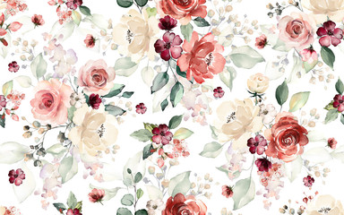Seamless pattern with flowers and leaves. Hand drawn background.  floral patt...