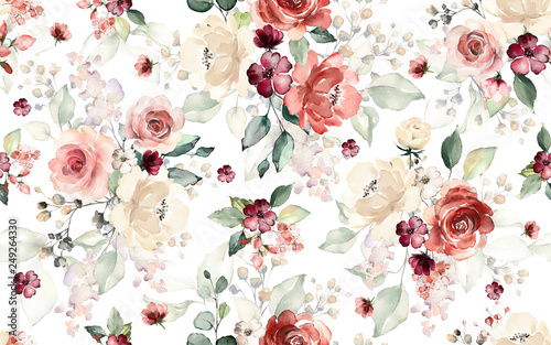 Fotoposter Vintage Bloemen Seamless pattern with flowers and leaves. Hand drawn background. floral pattern for wallpaper or fabric. Flower rose. Botanic Tile.