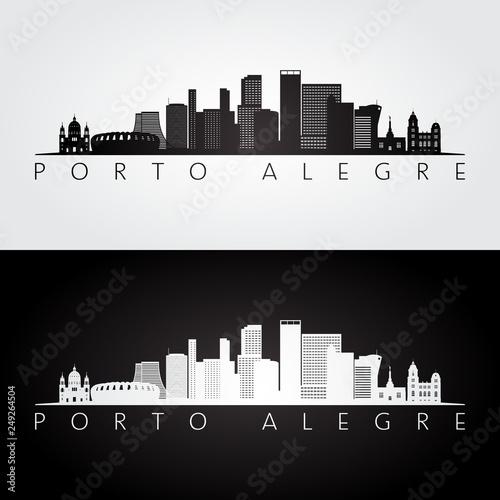 Porto Alegre skyline and landmarks silhouette, black and white design, vector illustration Wallpaper Mural