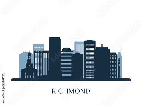 Tablou Canvas Richmond skyline, monochrome silhouette. Vector illustration.