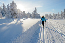 Woman In Skislopes, Winter In ...