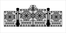 Black Silhouette Of Gothic Cemetery Gate With Ornament. Isolated Drawing Of Cathedral Build. Fantasy Architecture. European Medieval Landmark. Design Element.