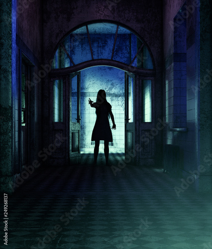 Girl being possessed by a demonic,3d rendering** night scene may have some noise Wall mural