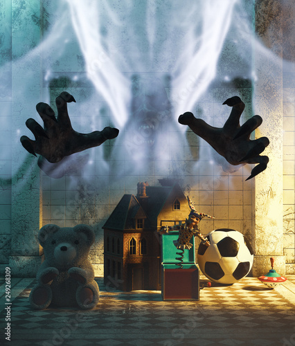 Fotografia, Obraz Ghost hands with children's toys in hallway,3d illustration for book cover