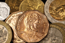 Chilean Peso Coins In Macro On...