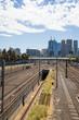 Melbourne, Australia - January 15, 2019: Melbourne CBD with financial towers, view from Melbourne Park where having Grand Slam Australian Open at Australian tennis center.