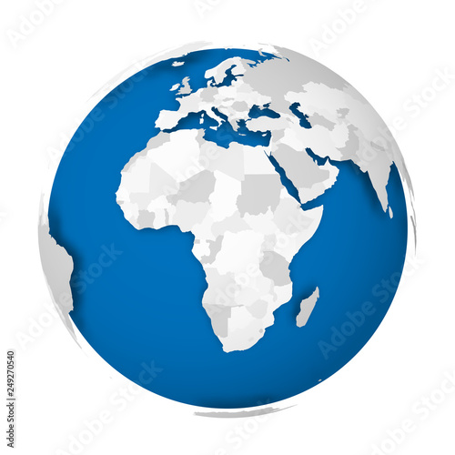 Earth globe. 3D world map with grey political map of ...