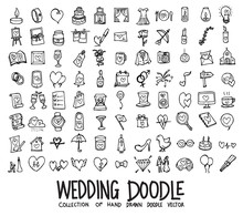 Set Of Wedding Icons Drawing Illustration Hand Drawn Doodle Sketch Line Vector Eps10