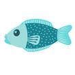 Blue fish vector icon illustration